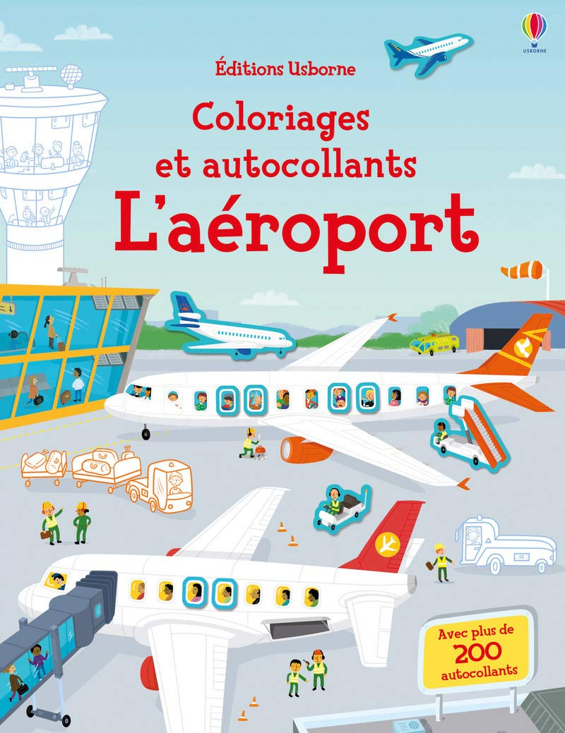 Coloriage Gommette Avion.L Aeroport Coloriages Et Autocollants Amazon Fr Sam