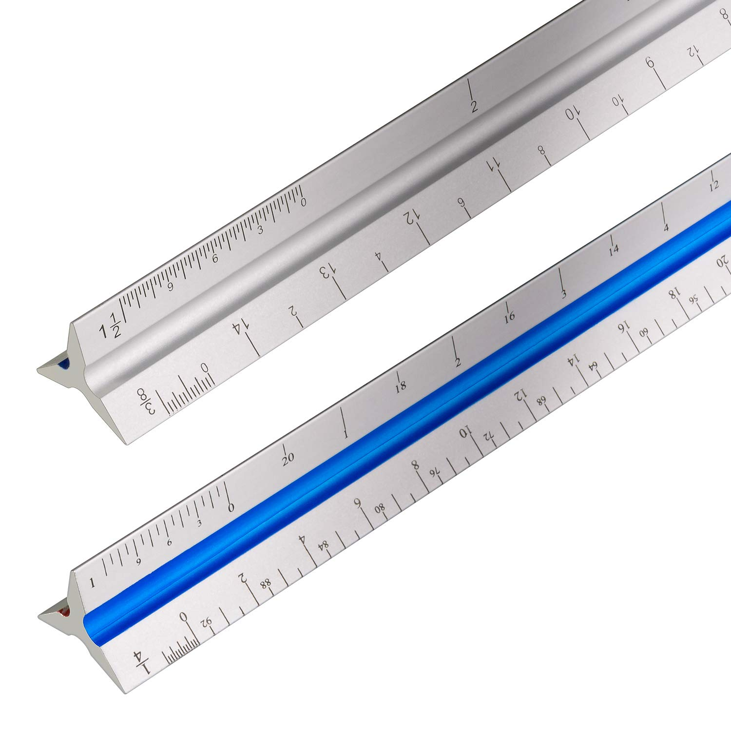 2 Pack Triangular Architectural Scale Ruler Architects Scale 1-1/2'', 1, 3/4'', 3/8'', 3/16'', 3/32'', 1/2'', 1/4'', 1/8'', 3, 16 - Aluminum