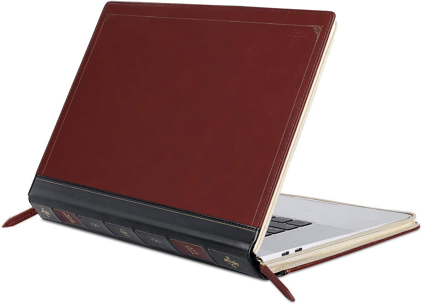 MOSISO MacBook Pro 16 inch Case 2019 Release A2141 with Touch Bar & Touch ID, PU Leather Laptop Sleeve Vintage Retro Zippered Book Folio Protective Cover Compatible with MacBook Pro 16 inch, Wine Red