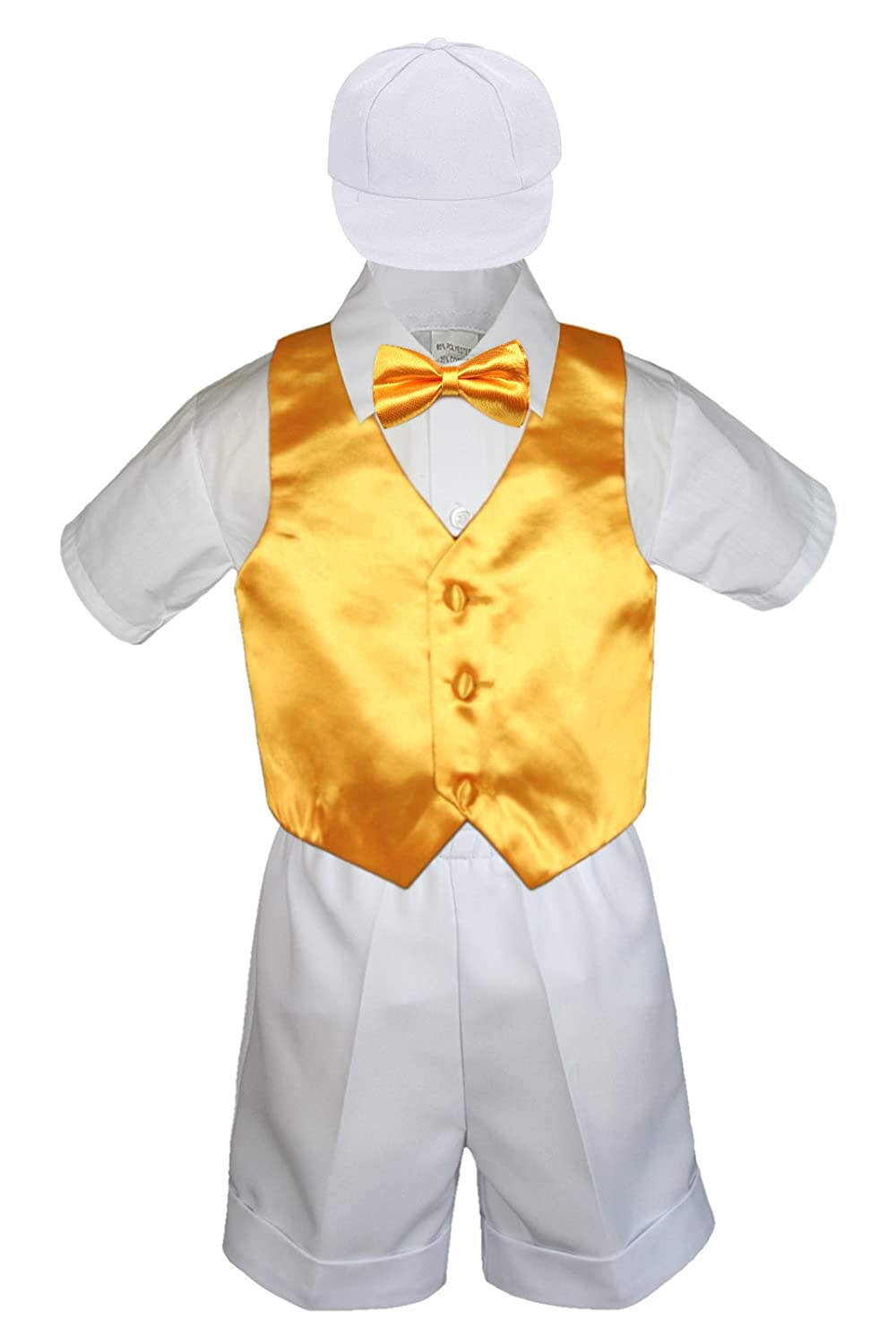 5pc Baby Toddlers Boys Satin Ivory Vest Bow Tie Sets White Suits S-4T S: 0-6 months