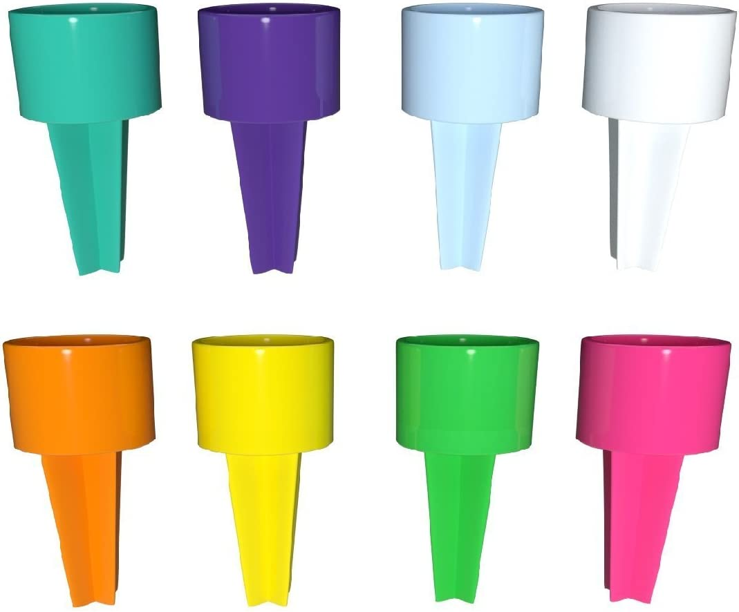Set of 8 Spikers Beach Beverage Sand Cup Holders - Teal, Purple, Carolina Blue, White, Yellow, Tangerine, Kiwi & Strawberry