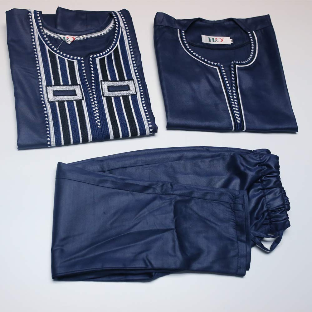 African Family Matching Outfits Clothes 3 Pieces Agbada Robe Daddy and Me Clothing for Man, Blue 4XL by H D (Image #4)