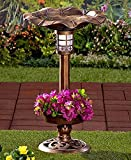 Solar Lighted Birdbath Bird Bath with Planter Bronze NEW --P#EWT43 65234R3FA525297