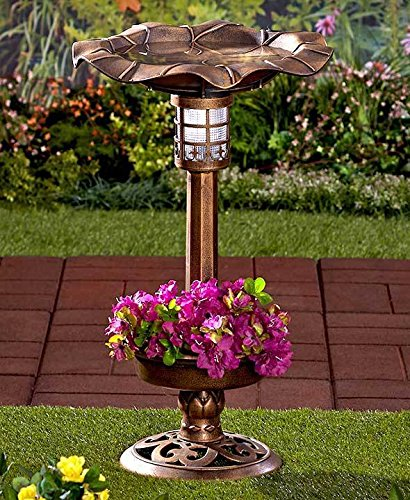 Amazon Com Solar Lighted Birdbath Bird Bath With Planter Bronze