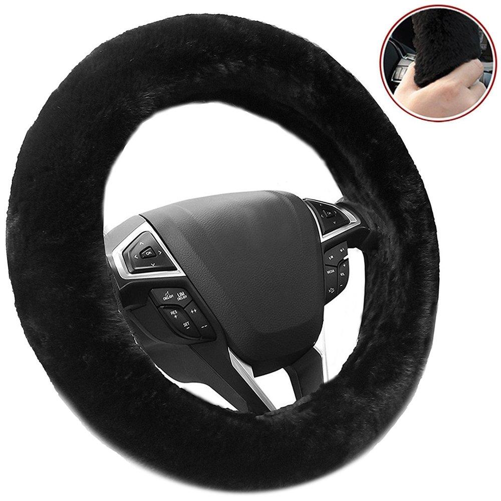 Big Ant Steering Wheel Cover - Plush Fluffy Car Steering Wheel Cover, Universal Fit Steering Cover Winter Warm Steering Wheel Protector, Gray