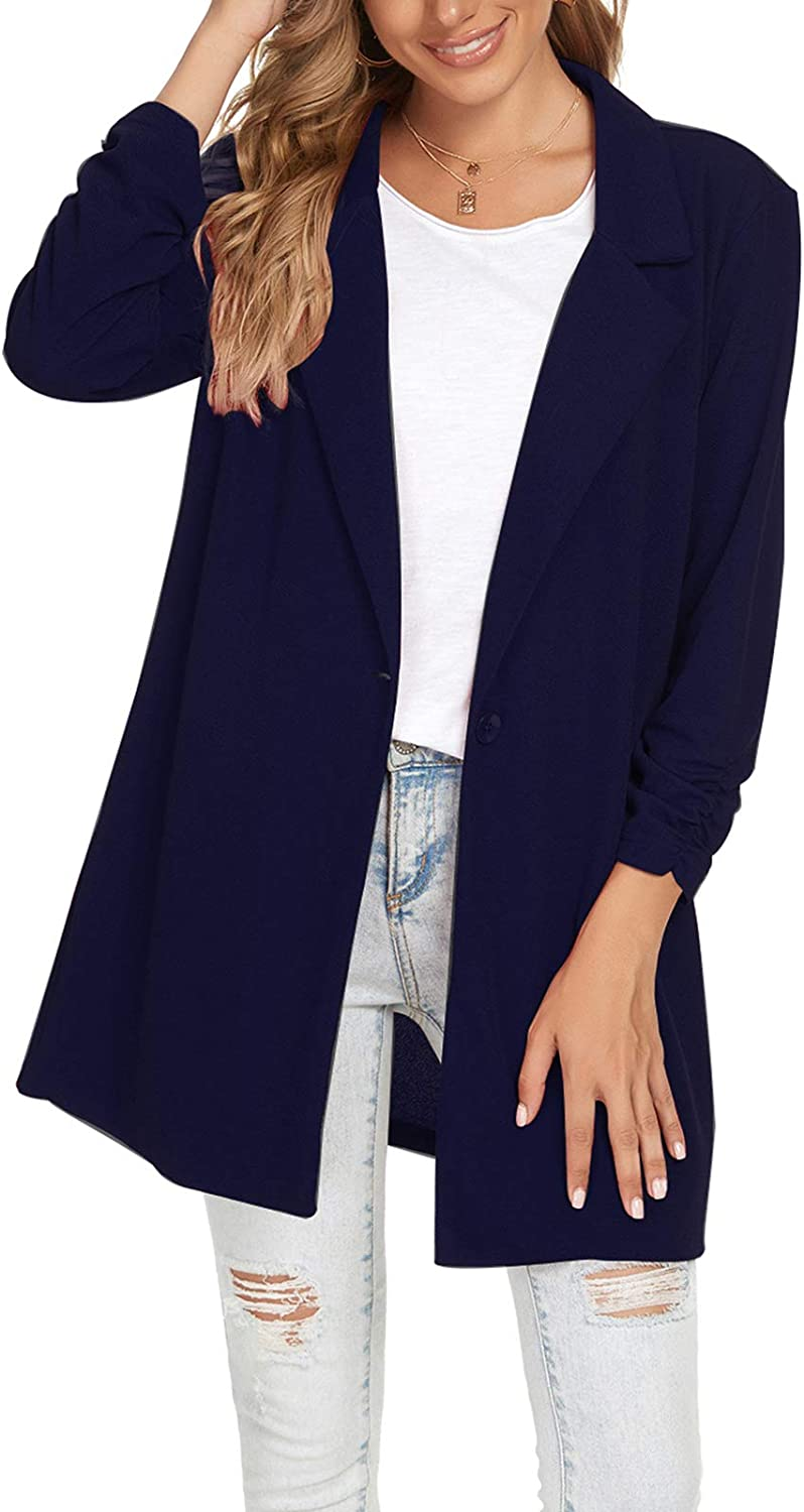 Women's Blazers Ruched Long Sleeve Notched Lapel One Button Casual Work Office Blazer Jacket