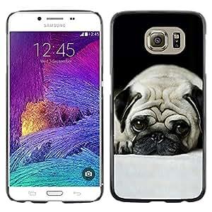 Planetar® ( Pug Dog pequeños Pelo Corto ojos grandes de Brown ) Samsung Galaxy S6 Fundas Cover Cubre Hard Case Cover