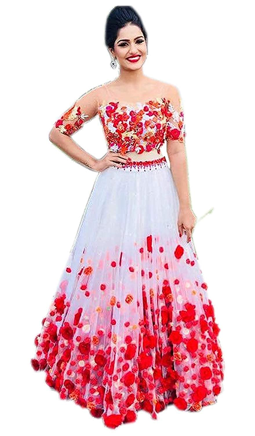 Fast Fashions Women's Heavy Net Embroidered Semi-Stitched Lehenga Choli