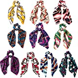 10 Pieces Hair Scrunchies Elastic Hair Bands Chiffon Flowers Hair Scarf Ties Ponytail Holder for Women Girls (Style A)