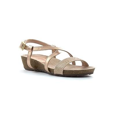 3d8737d0d58f Lotus Womens Rose Gold Diamante Low Wedge Sandal - Size 8 UK - Multicolour