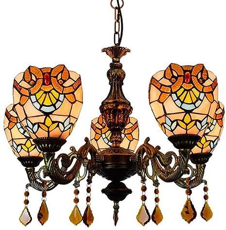 5 * Flame colgante de luz, estilo Tiffany Lámpara de araña Techo ...