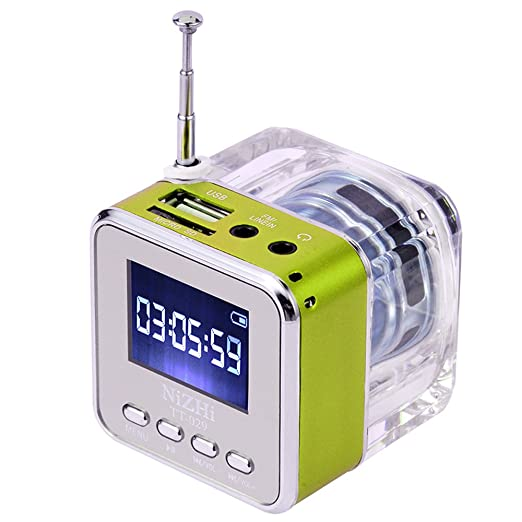 390 opinioni per Andoer mini altoparlante disk Radio FM Mini Speaker micro SD USB (verde)