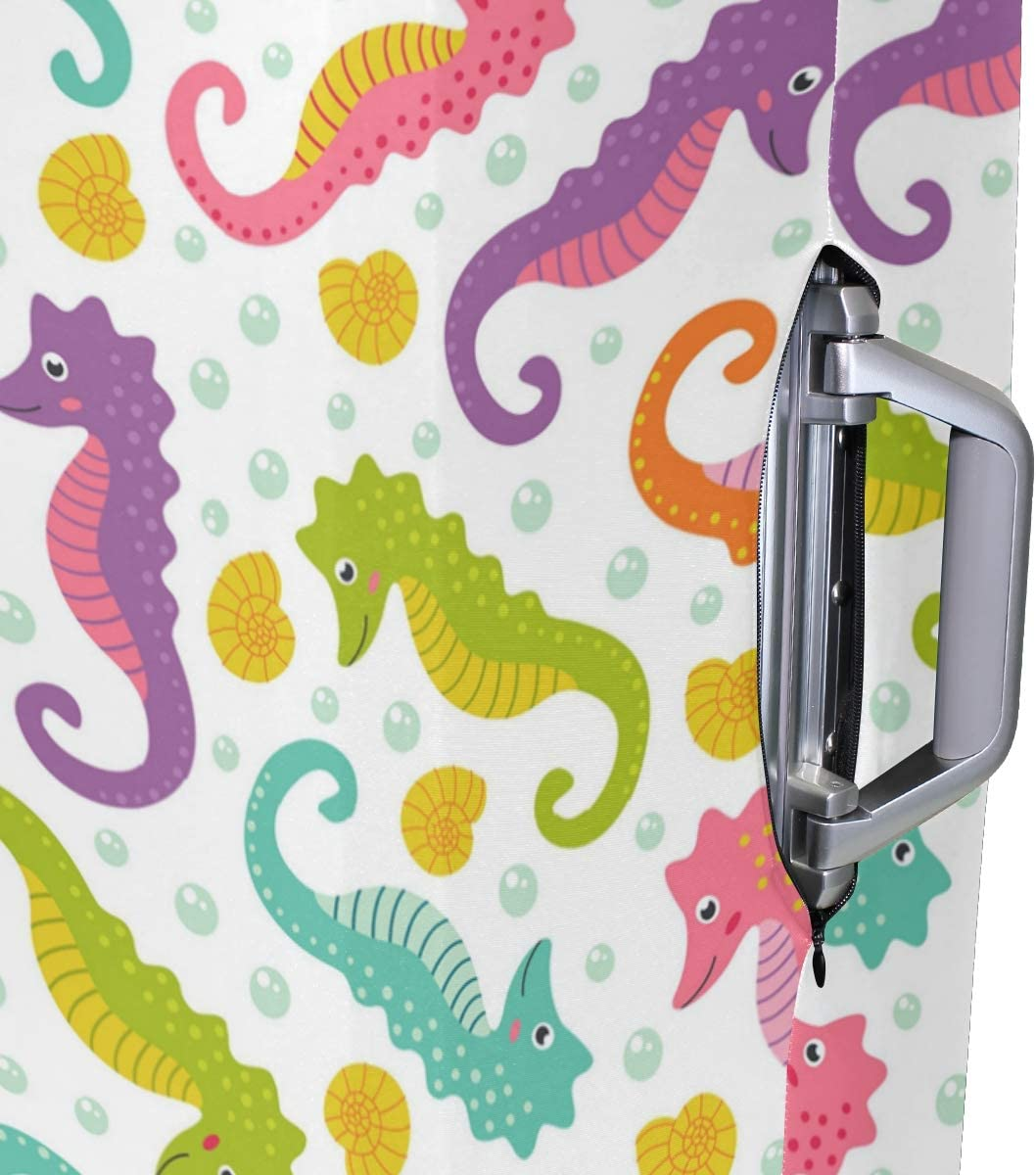 Colorful Seahorse And Conch Travel Luggage Protector Case Suitcase Protector For Man/&Woman Fits 18-32 Inch Luggage
