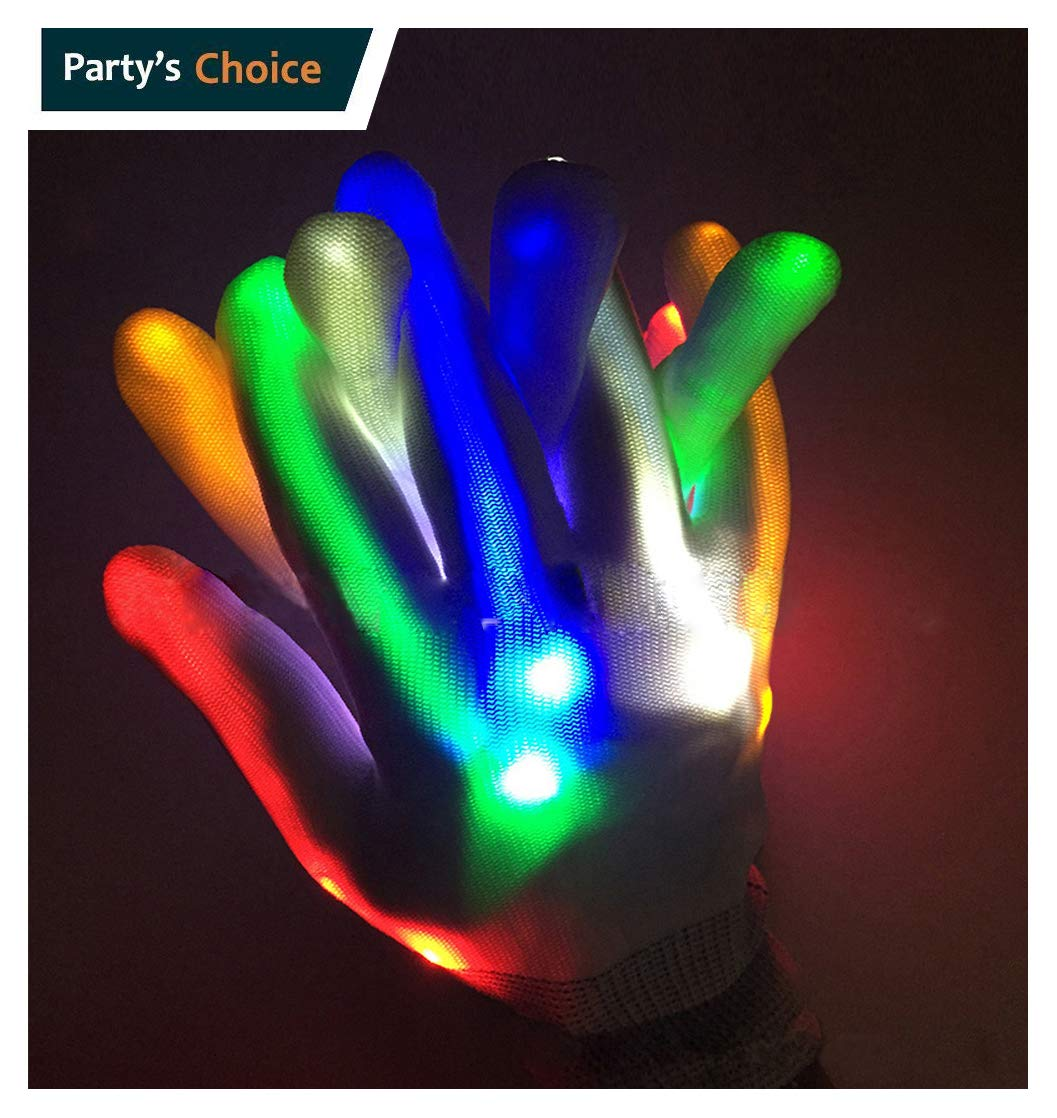 LIQING 5 Colors 6 Modes Glowing Rave Gloves LED Gloves LED Magic Gloves Novelty Halloween Costume Party Favors Light Up Toys Novelty (White) by LIQING