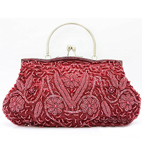 Wedding Bead Red Belsen Seed Wine Evening Women's Bags qf885xtw