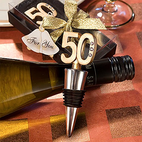 Gold 50th Anniversary Bottle Stoppers - 9