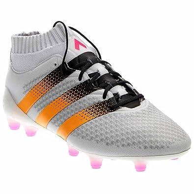 adidas Women s ACE 16.1 Primeknit FG White Solar Gold Shock Pink Sneaker 8 B 330258097
