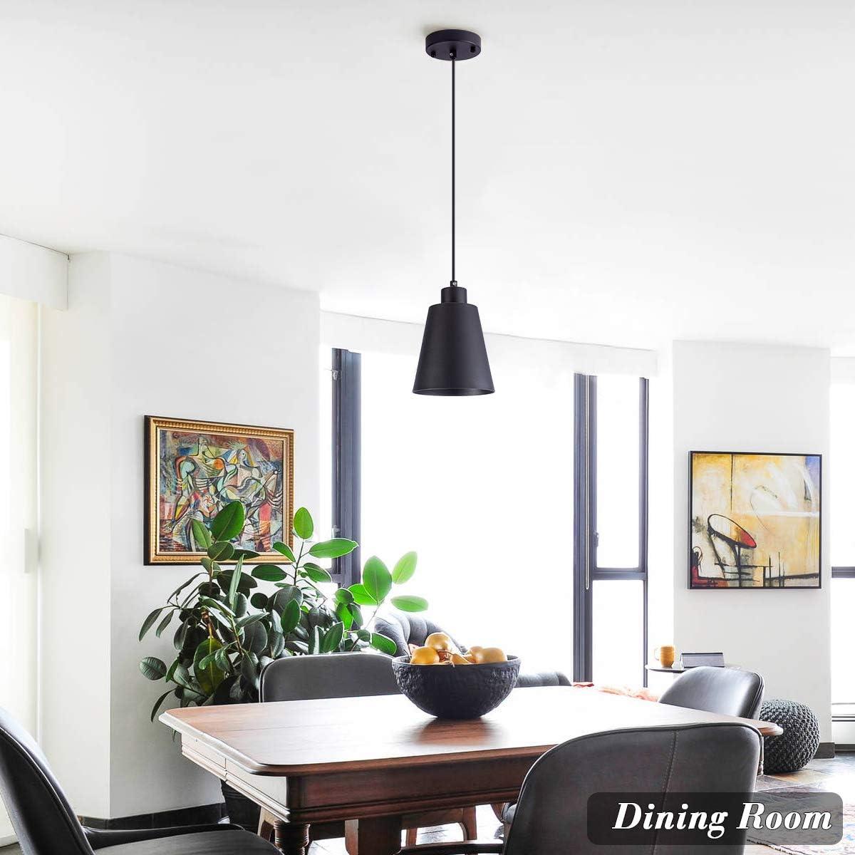 Modern Black Pendant Light Fixture Mini 1-light Pendant lighting for Kitchen Island Industrial Hanging Pendant Light Cup Shade for Dining Room,Foyer,Hallway,Bar,MAX40W,E26