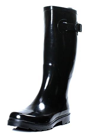 Townforst Women's Rubber Rain Boots Knee High Flat (9)