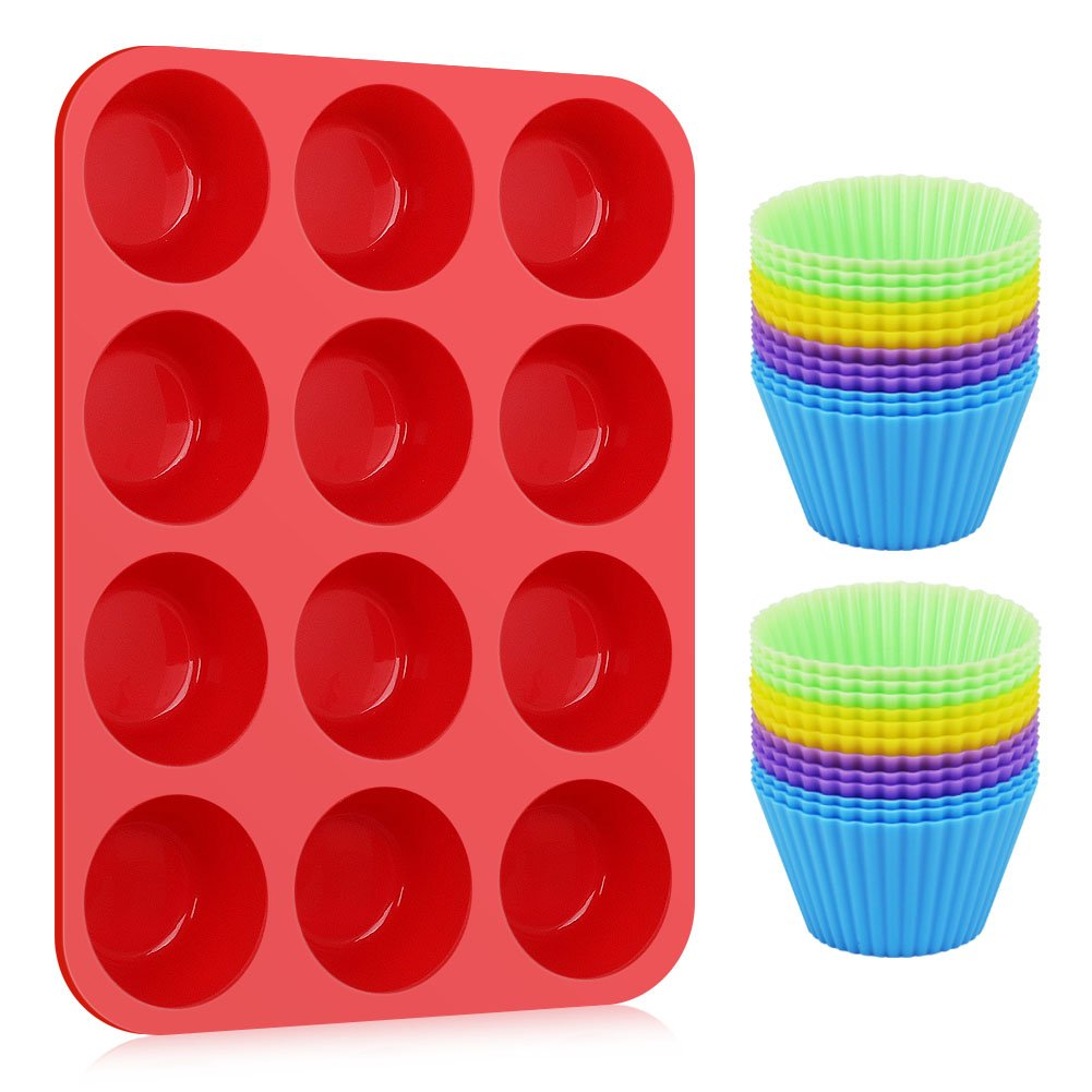 Kootek Silicone Muffin Pan with 24 Pack Reusable Cupcake Liners Baking Cups - BPA Free Muffin Tin and Cupcakes Wrappers, Nonstick Muffins Molds for Bakeware Breads Desserts Kid's Lunch KD083