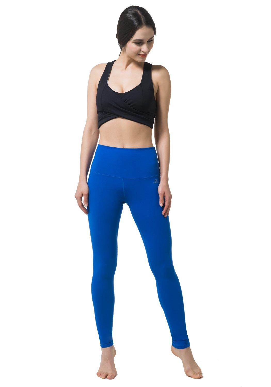 Matymats Women\'s High Waist Yoga Capri Pants Tummy Control Workout Running Crop Leggings Inner Pockets (Blue, X-Large)