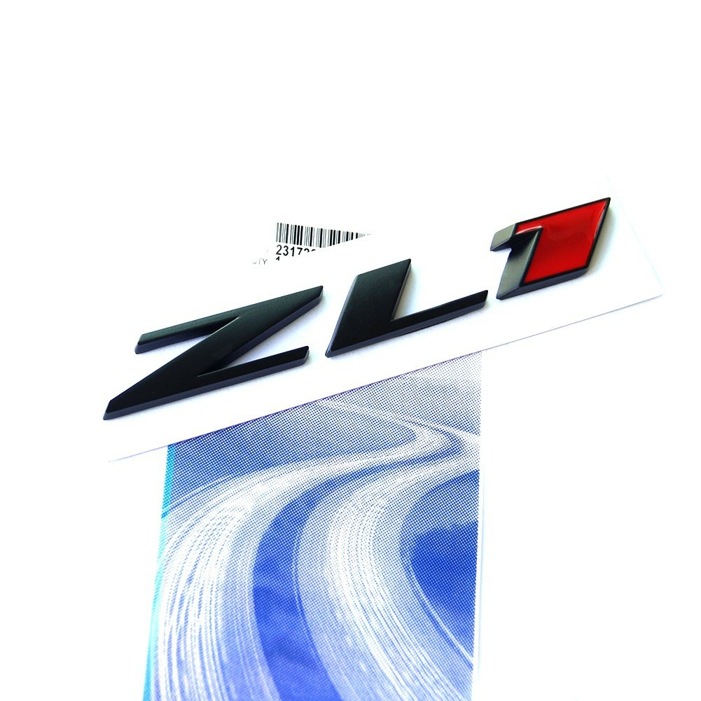 Yoaoo 1 OEM Black ZL1 Emblem Badge Letter Rear Side ZL1 Door Replacement for Camaro SS RS Matte 1 Black Red 68216931