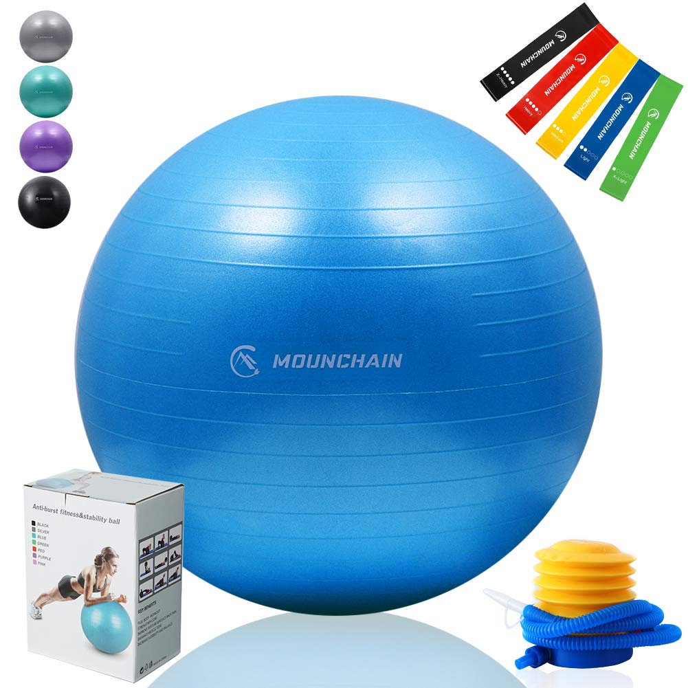 Mounchain Exercise Ball Professional Grade Yoga Ball with 5 Pcs Resistance Loop Exercise Bands Stability and Anti- Burst Exercise Equipment (Blue)