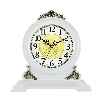 NNIU-ZH Reloj de Escritorio- Reloj de sobremesa, Madera, sin tictac Reloj de Mesa silencioso Reloj de sobremesa silencioso Reloj de Mesa Decorativo (Color ...