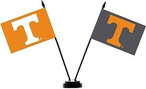 BSI NCAA Tennessee Volunteers Unisex NCAA 2-Flag Desk Setncaa 2-Flag Desk Set, Orange, One Size