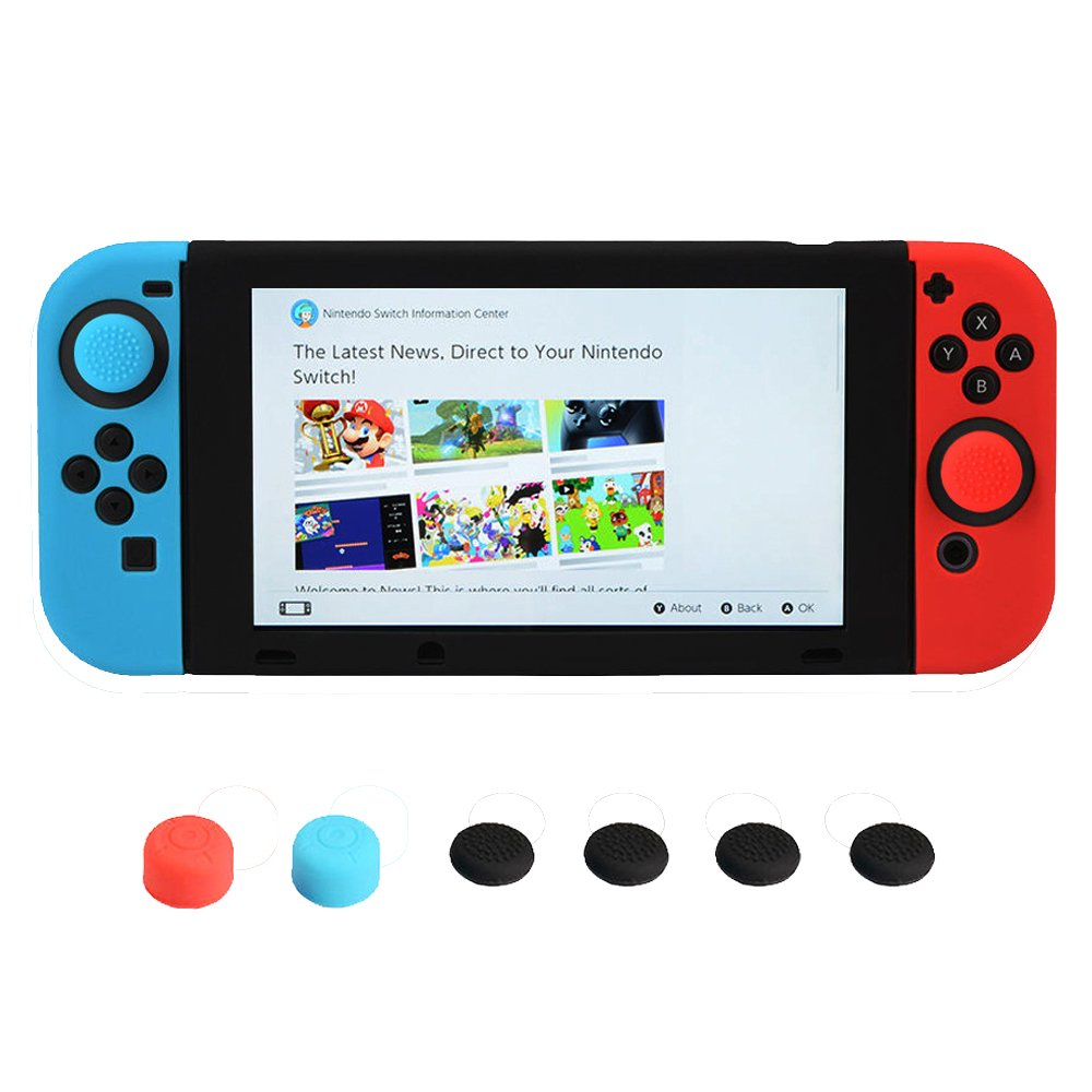 SpringPear® Silicone Controller Protective Case Cover and Analogstick Thumbstick Thumb Grips Caps Attachments for Nintendo Switch Gaming Accessories 11 in 1 Set