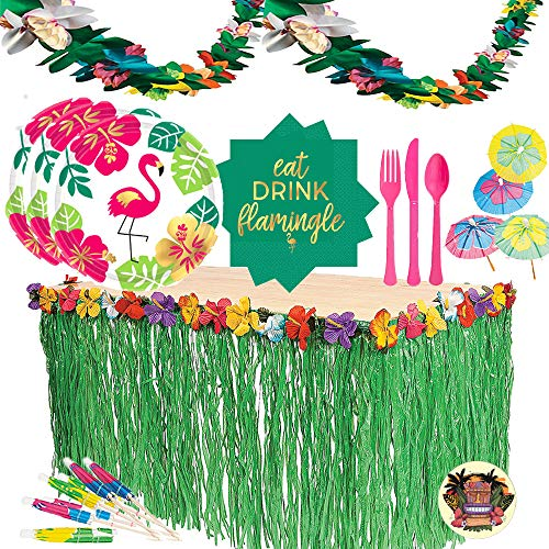 Summer Flamingo Cocktail Party Supplies Pack For 16 With Flamingo Dessert Plates, Beverage Napkins, Cutlery, Grass Table Skirt, Luau Flower Garland, Paper Hibiscus Parasol Picks and Exclusive Tiki - Garland Plate Dessert