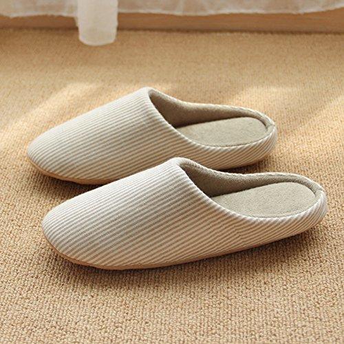 CWAIXXZZ pantofole morbide Autunno Inverno spesse pantofole di cotone piano pantofole donna indoor anti-slip case con un morbido fondo scarpe sulle strisce soggiorno scarpe ,codice S (per un 35-36 pie
