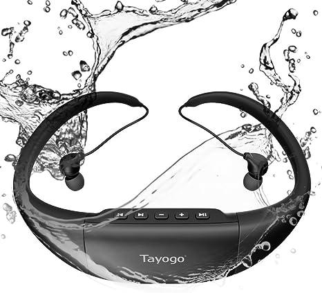8GB de Memoria Permite descargar 2000 Canciones Ultra-Ligero Disco U Resistente al Calor 60 Nadar Carrera Excursionismo SPA Tayogo Reproductor de MP3 IPX8 mp3 Impermeable nataci/ón