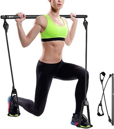 Portable Pilates Bar Kit Home Exercise Stick With Resistance Band Toning Gym UK