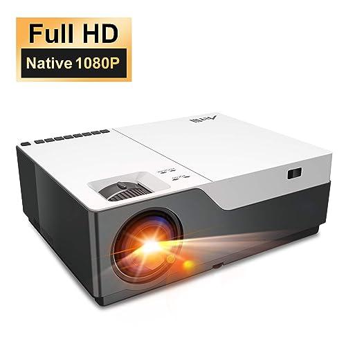 Proyector 6000 Lúmenes Full HD 1080P Nativo Artlii Stone Proyector Cine en Casa de 300 Soporta 4K Proyector Profesional Zoom Compatible con USB HDMI SD AV VGA