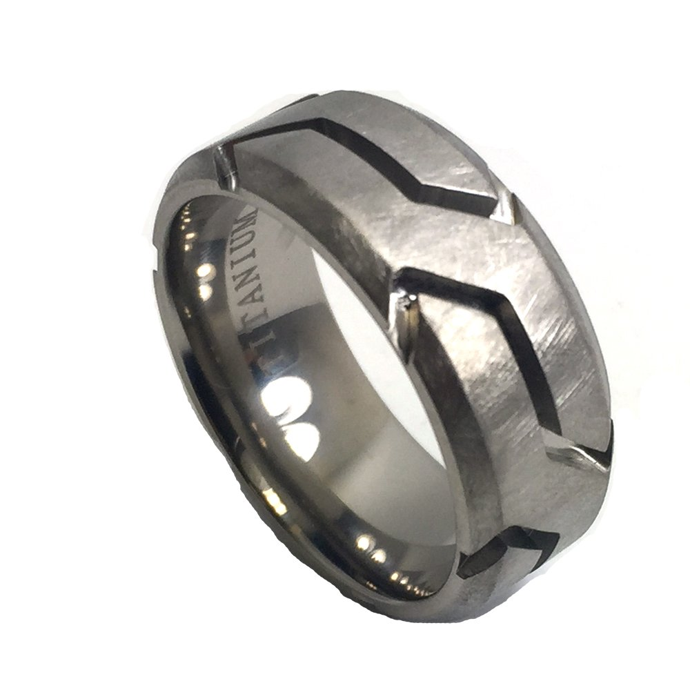 9mm Titanium Matt Rugged Finish Groove Pattern Wedding Band Ring For Him or Her