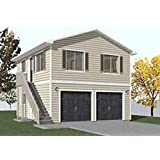 Garage Plans: Two Car, Two Story Garage With Apartment, Outside Stairs    Plan