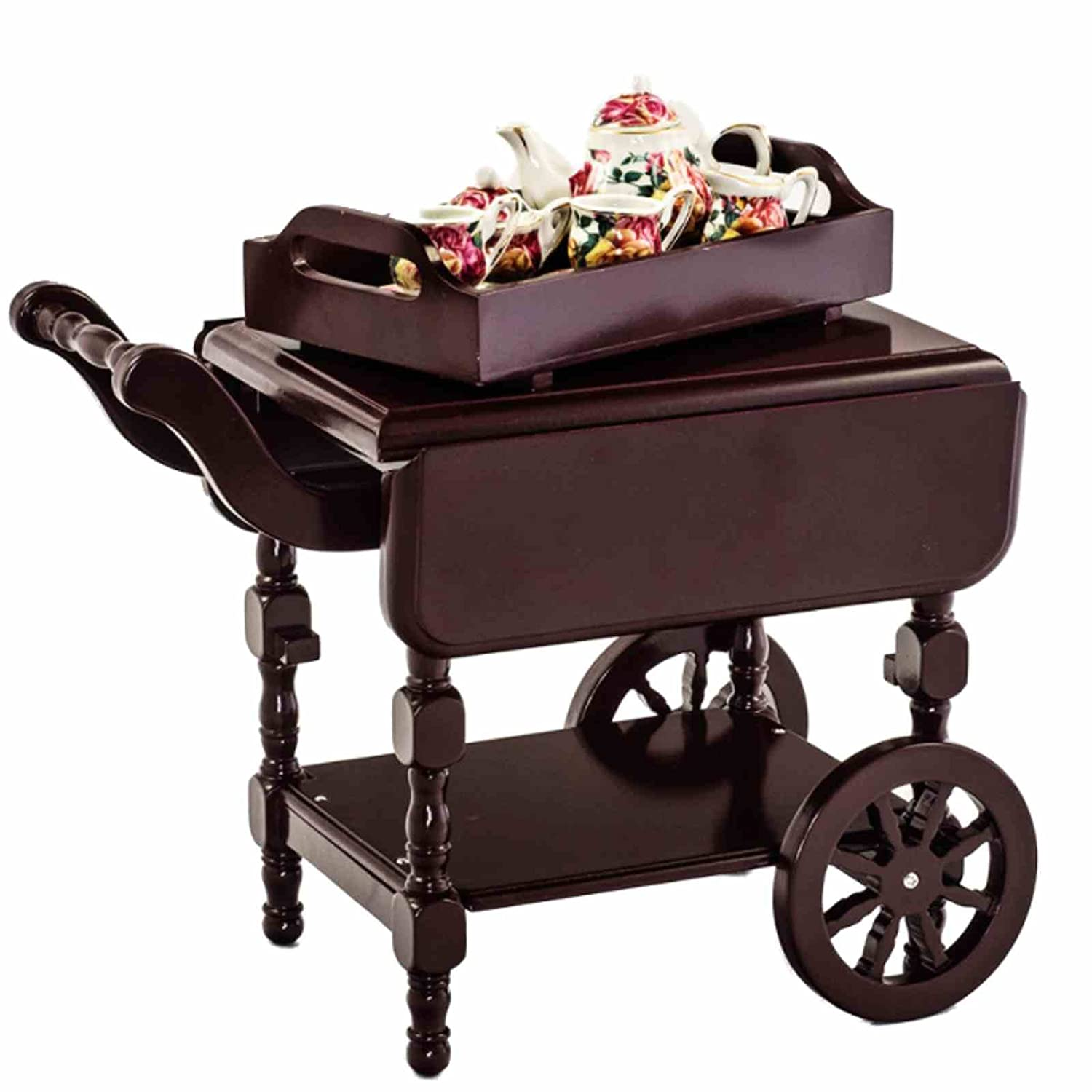 amazon com wooden moveable 18 inch doll drop leaf tea cart with
