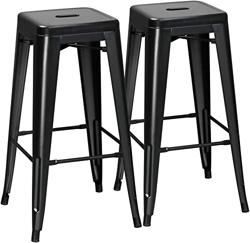 Yaheetech 2 Pack Metal Bar Stools Vintage Counter Bar Stool Stackable Chairs Heavy Duty for Bistro Patio Caf Restaurant Dining Room Kitchen Black, 30