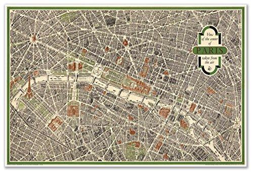 Antiguos Maps Aerial View Pictorial Street Map of Paris France Circa 1959 - Measures 24