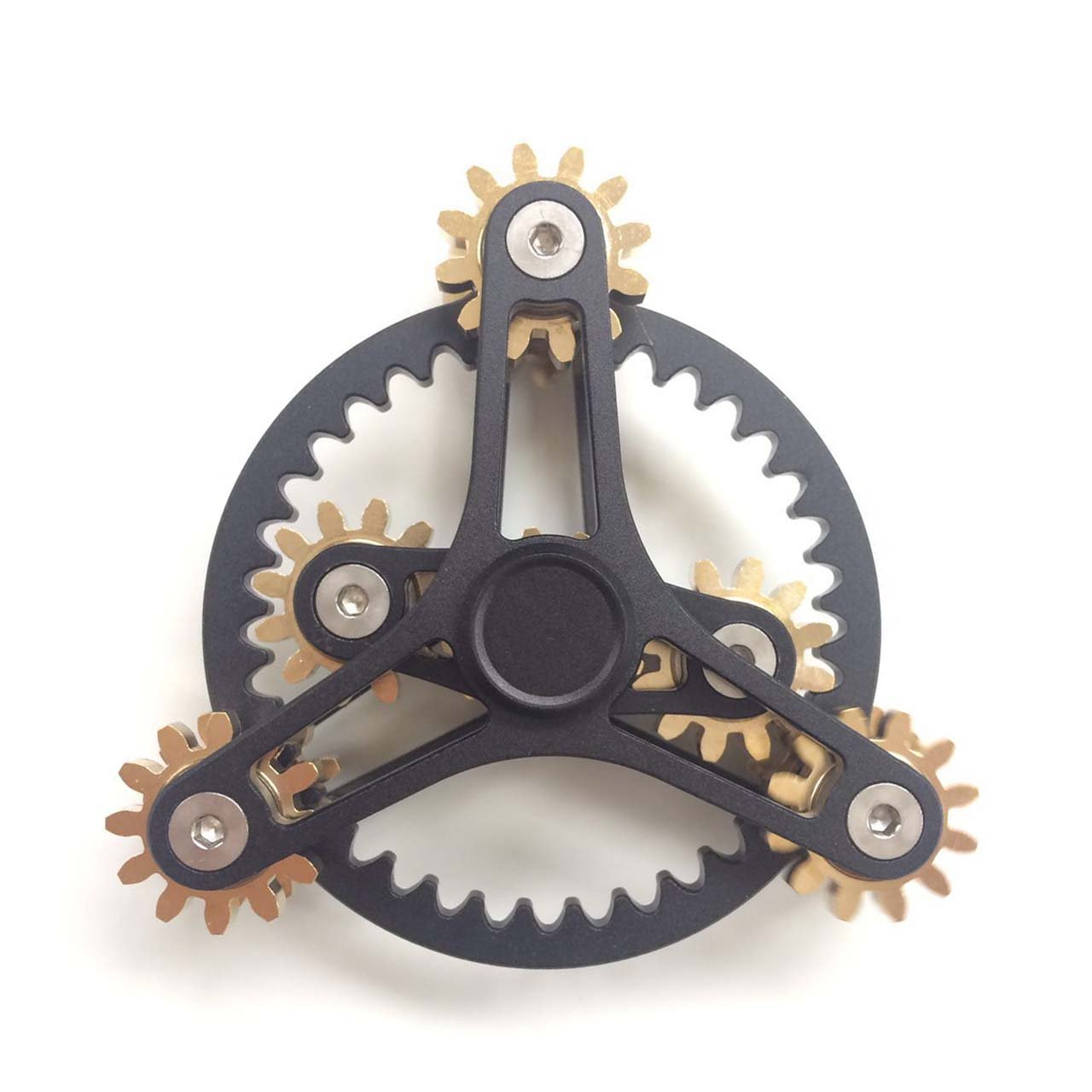 FREELOVE 9 Series Gear Pure Copper Brass Fidget Spinner Toy EDC Industrial Mechinery Disassemble R188 Silent Stainless Steel Bearing,3~5 Minutes (6 Gear Wind Fire Wheel Black, 6 Gear Wind Fire Wheel)