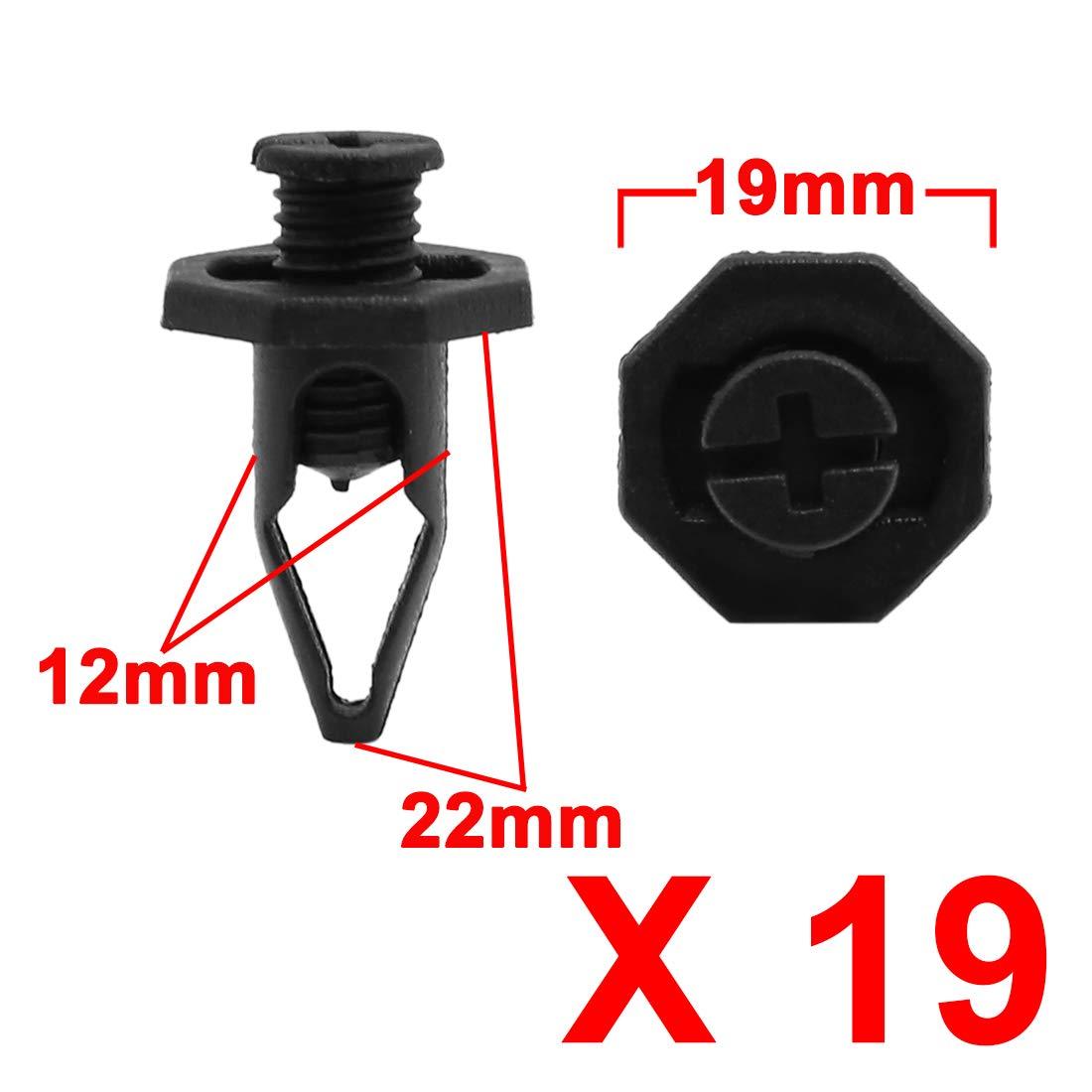 Color Negro Remaches de pl/ástico para Guardabarros de Coche 19 Unidades 12 mm X AUTOHAUX