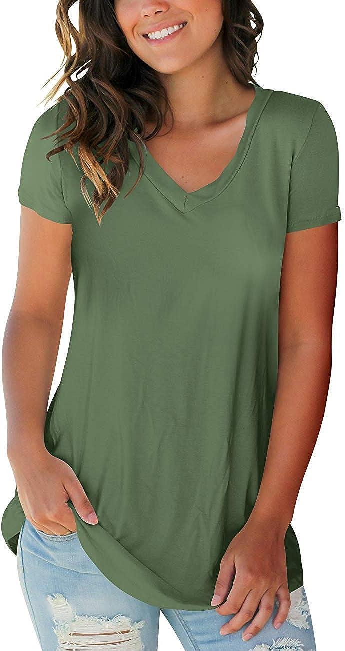 Womens T Shirts Short Sleeve V Neck Loose Casual Basic Tee Tops Summer T-Shirt