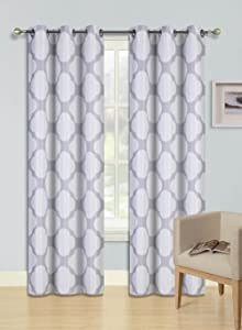 """Gorgeous Home (F15) 1 Panel Printed Silver Ivory Circles Design 84"""" Length Thermal Foam Lined Blackout Heavy Thick Window Curtain Drapes Silver Grommets"""