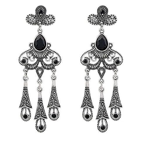 04598cc4bd85 lanzy cristal austriaco negro araña de estilo de Bohemia pendientes de gota  de la mujer Vintage plata tono  Amazon.es  Joyería