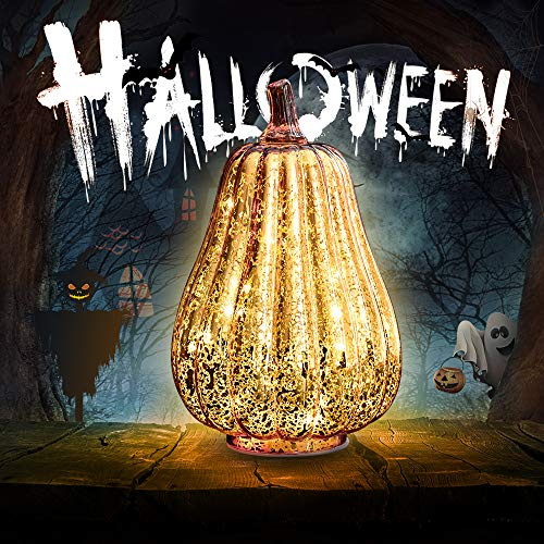 Halloween Pumpkin Lantern Light, Jack o Lantern Decorative Pumpkins Mercury Glass Decor Fall Decorations Led Timer Candles Battery Operated Large