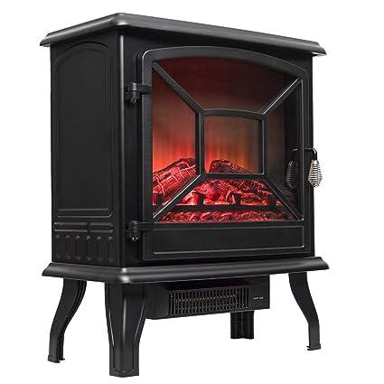 Calentador de estufa eléctrica Hogar con Registro realista Llama de leña Efecto 3D y 2 configuraciones de calor - Portátil De pie Calentador Espacial 1600W ...