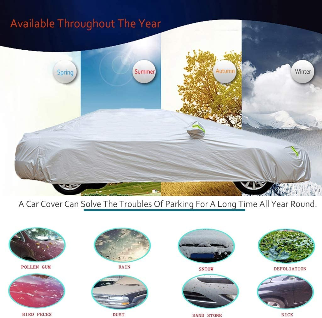 Color : Gray Compatible With Mercedes-AMG C63 Waterproof Full Coverage Car Cover Four Seasons Available Protective Cover Snowproof Windroof Thermal Insulation Car Umbrella Cover
