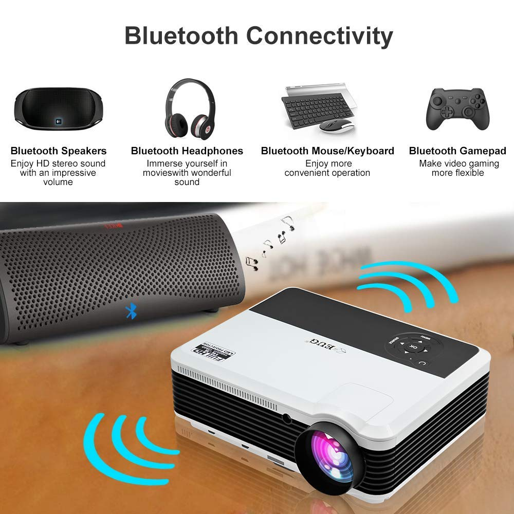 4200 Lumens LED Wireless Home Movie Game Projector with Wifi Bluetooth USB HDMI Airplay HD LCD Indoor Outdoor WXGA Smart Android Video Projector 1080P 720P for Phones Computer TV Slides Laptop DVDs