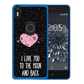 WoowCase Funda Bq Aquaris X5 Plus, [Bq Aquaris X5 Plus ] Funda Silicona Gel Flexible Corazón Frase Amor - I Love You To The Moon and Back, Carcasa ...